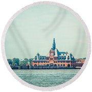 Central Railroad Terminal Of New Jersey Round Beach Towel