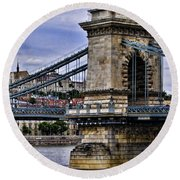 Chain Bridge  Budapest Round Beach Towel