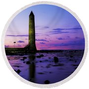 Chaine Memorial Tower, Larne Harbour Round Beach Towel