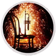 Chair And Horn With Fireworks Round Beach Towel