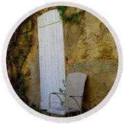 Chair By The White Door Round Beach Towel