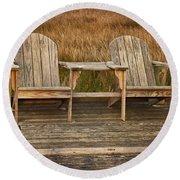 Wooden Chairs Round Beach Towel