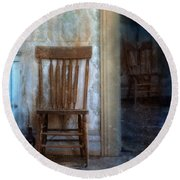 Chairs In Rundown House Round Beach Towel