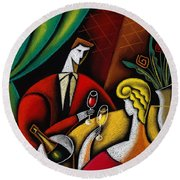 Champagne And Love Round Beach Towel by Leon Zernitsky