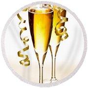 Champagne Glasses Round Beach Towel