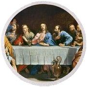 Champaigne: Last Supper Round Beach Towel