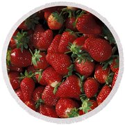 Chandler Strawberries Round Beach Towel