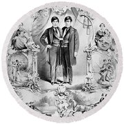 Chang And Eng Bunker, The Original Round Beach Towel