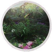 Chaos In Morning Mist Round Beach Towel