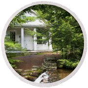 Chapel At Hickory Run State Park Round Beach Towel