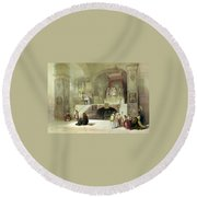 Chapel Of The Annunciation Nazareth Round Beach Towel