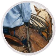 Chaps Round Beach Towel by Pat Erickson