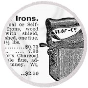 Charcoal Iron, 1895 Round Beach Towel