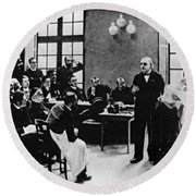 Charcot Demonstrating Hysterical Case Round Beach Towel