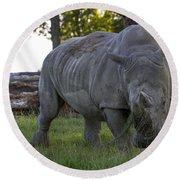 Charging Rhino. Round Beach Towel