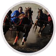 Rodeo Chariot Race Round Beach Towel
