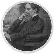 Charles Dickens, English Author Round Beach Towel