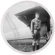Charles Lindbergh American Aviator Round Beach Towel by Photo Researchers