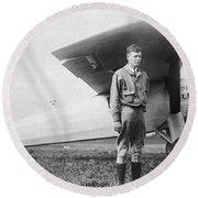 Charles Lindbergh American Aviator Round Beach Towel