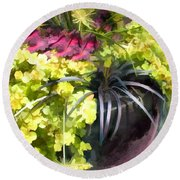 Chartreuse And Purple Plants Round Beach Towel