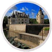 Chateau Chenonceau Loire Valley Round Beach Towel