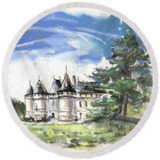 Chateau De Chaumont In France Round Beach Towel