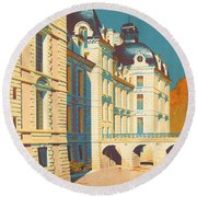 Chateau De Cheverny Round Beach Towel by Georgia Fowler