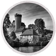 Chateau On The Lake At Annecy Round Beach Towel