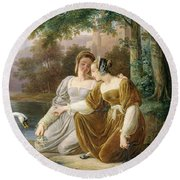 Chatelaines Round Beach Towel by Pierre Henri Revoil