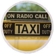 Checker Taxi Cab Duty Sign Round Beach Towel