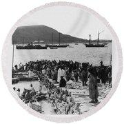 Chemulpo Harbor - Korea - 1903 Round Beach Towel