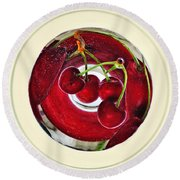Cherries In A Wine Glass Round Beach Towel
