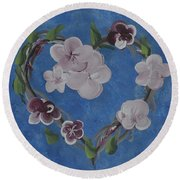 Cherry Blossom Heart Round Beach Towel