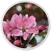 Cherry Blossom Photo Art And Blank Greeting Card Round Beach Towel