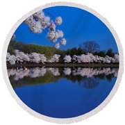 Cherry Blossoms And The Tidal Basin Round Beach Towel