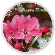 Cherry Blossoms Greeting Card  Bi Round Beach Towel