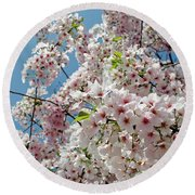Cherry Blossoms Of The Sky Round Beach Towel