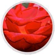 Cherry Red Rose Round Beach Towel
