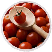 Cherry Tomatoes And Wooden Spoon Round Beach Towel