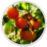 Cherry Tomatoes On The Vine Round Beach Towel