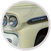 Chevrolet Apache 31 Fleetline Headlight Emblem Round Beach Towel