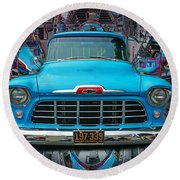 Chevrolet Pick Up Abstract Round Beach Towel