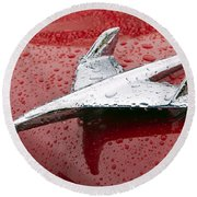 Chevy Bel Air Nomad Hood Ornament Round Beach Towel