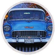 Chevy Front End Round Beach Towel