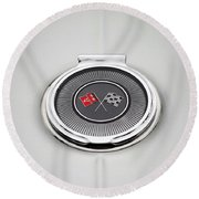 Chevy Gas Cap Silver Emblem Round Beach Towel