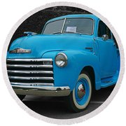 Chevy Pick-up With Bw Background Round Beach Towel