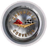Chevy Racing Flags Round Beach Towel