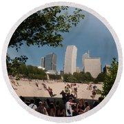 Chicago City Scenes Round Beach Towel