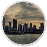 Chicago Skyline Navy Pier Round Beach Towel
