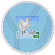 Chick And  Water Lily Round Beach Towel